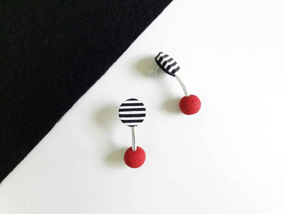 Polymer clay double bead earrings