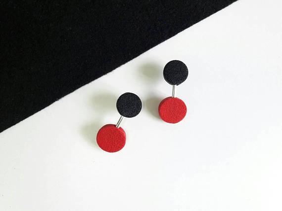 Polymer clay double bead earrings