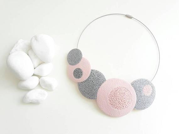 Polymer clay handmade bib necklace