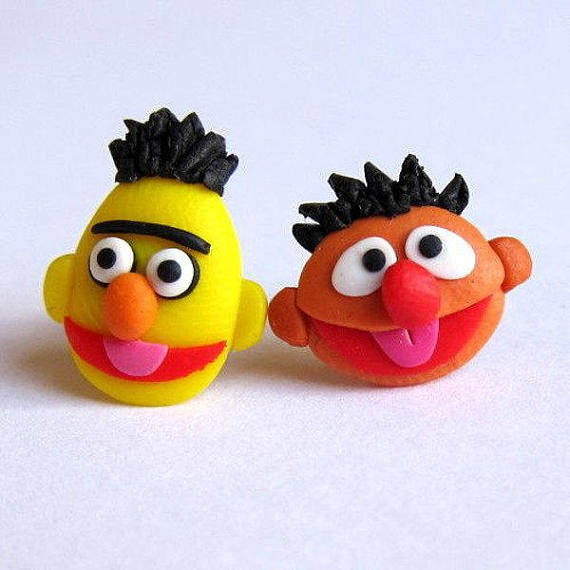 Bert And Ernie Character Earrings, Sesame Street Earrings, The Muppet Show Cartoon Earrings, Gift Idea, Girls Jewellery, Childrens Jewellery