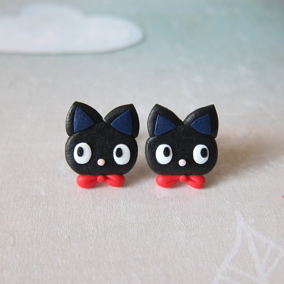 Black Cat Earrings My Neighbour Totoro Jiji Birthday Gift Idea Funny Girls Jewelry Lovers Gifts For Friends