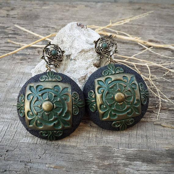 Polymer clay bohemian jewelry
