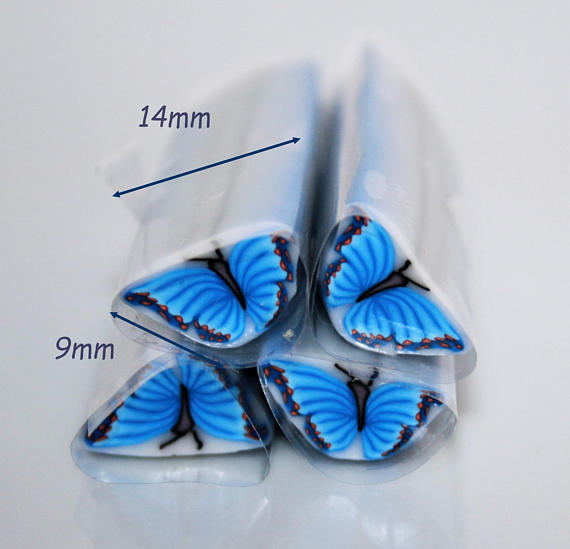 Blue Butterfly raw polymer clay cane