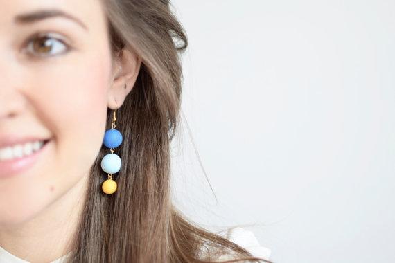 Blue dangle earrings, Geometric earrings, Beaded earrings, Beaded jewelry, Bead Drop earrings, Handmade earrings, Polymer clay earring, Gift
