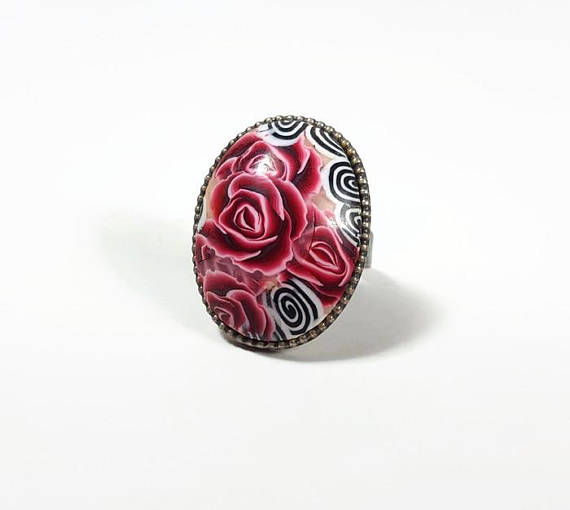 Bohemian ring, fun jewelry, fun ring, fashion ring, big ring, adjustable ring red, handmade ring, floral ring, everyday ring, Oval ring red