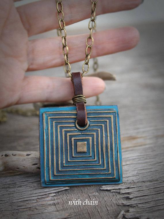 Boho jewelry square boho pendant patina jewelry leather boho boho jewelry square boho pendant patina jewelry leather boho necklace geometric ethnic pendant necklace large jewelry aloadofball Choice Image