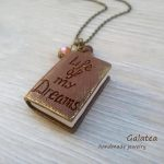 Book necklace Dream necklace Book lovers gift Woman Mini book jewelry Inspiration Necklace Brown Book Library jewelry Miniature Book pendan