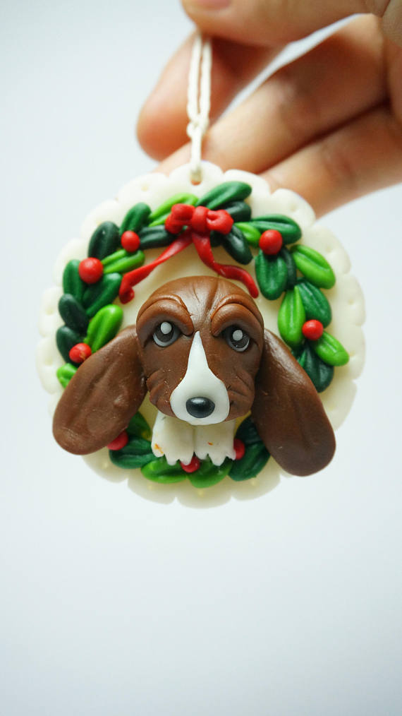 Christmas ornament, Basset Hound ornament clay miniature, Dog breed clay  figure,custom dogs ornament, handmade clay pet for dog or cat lovers,  polymer clay ... - Polymer Clay Christmas Ornaments For Cat Or Dogs Lovers