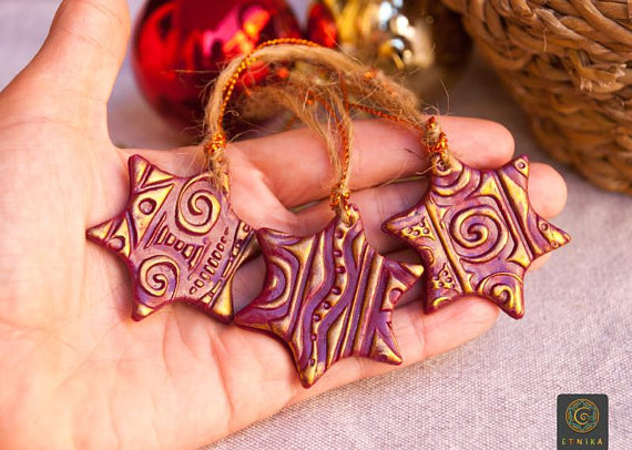 Polymer clay vintage Christmas tree ornaments