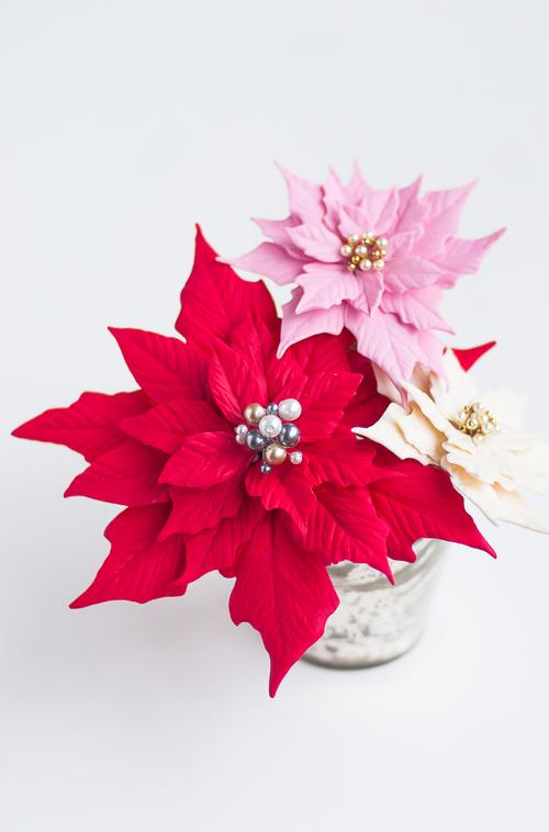 Clay Poinsettias for Christmas Decor 4