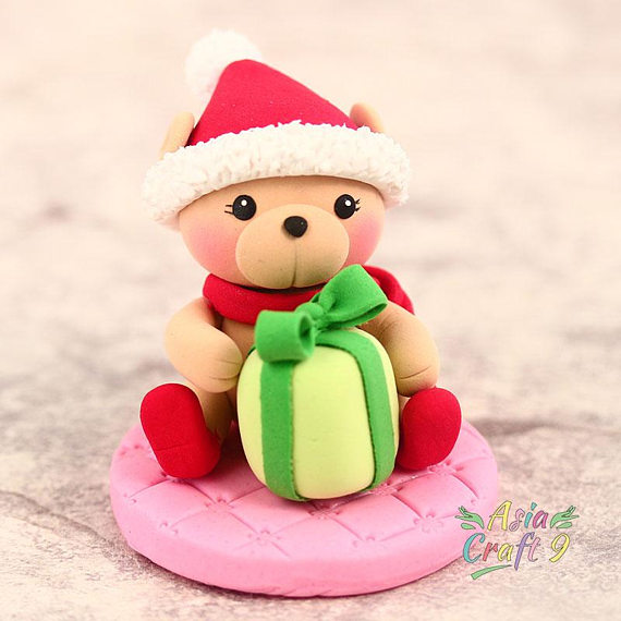 Clay handcrafted Christmas bear Christmas decoration- Xmas tree ornament clay miniature