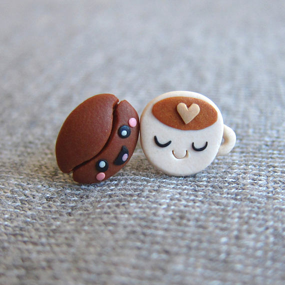 Coffee Earrings, Coffee Beans, Brown Earrings, Stud Earrings, Miniature Food Jewelry, Food Earrings, Polymer Clay Food, Polymer Clay Jewelry