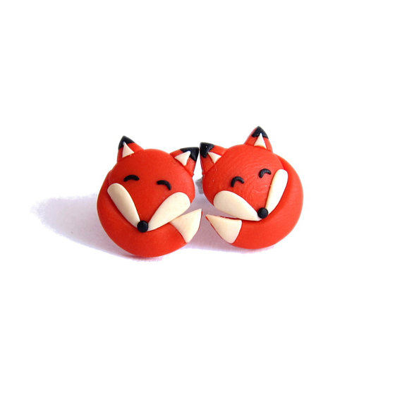 Fox Earrings, Orange Earrings, Girls Earrings, Ginger Earrings, Childrens Jewelry, Animal Earrings, Funny Earrings, Gifts For Kids Fox Studs