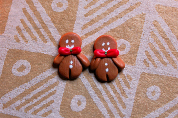 Polymer clay Christmas stud earrings