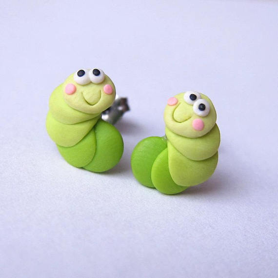 Green Earrings, Caterpillar Earrings, Polymer Clay Jewelry, Animal Earrings, Girls Earrings, Stud Earrings, BBQ Garden Party Jewelry Fimo