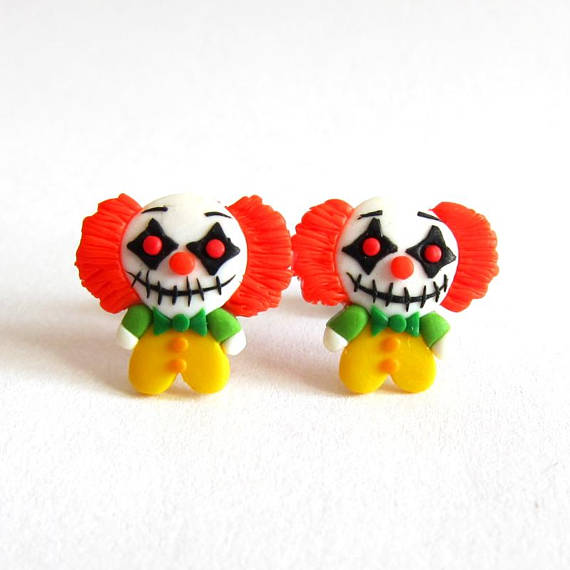 Halloween Costume, Killer Clown Earrings, Creppy Clown Earrings, Halloween Earrings, Halloween Jewelry, Polymer Clay Earrings, Scary Jewelry