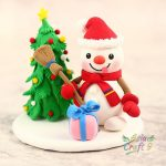 Santa Claus and Polar Bear clay Christmas decoration- Xmas gift