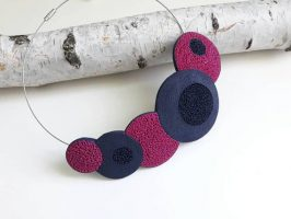 Polymer clay handmade bib necklace