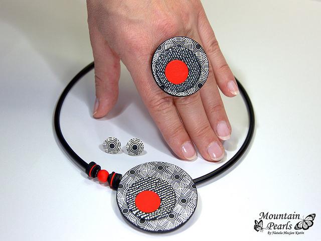 Handmade polymer clay jewelry sets (17)