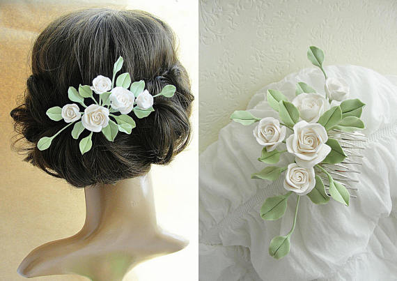 Ivory Hair Comb Bridal Rose Wedding Accessories Bridesmaid