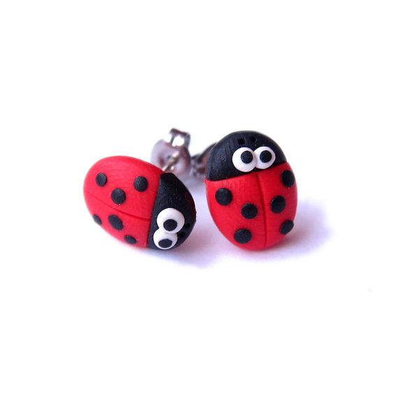 Ladybird Earrings Ladybug Red S Gifts Small Polymer Clay Cute