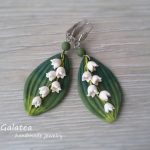 Lily of the valley earrings may-lily earrings May-lily leaves jewelry Woodland earrings Lily jewelry Bridal shower gift Drop floral earrings