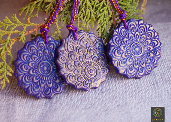 mandala christmas ornaments polymer clay decor violet gold christmas tree decorations mom christmas gift wife gift tag boho christmas - Boho Christmas Decor