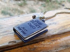 Polymer clay mini book jewelry