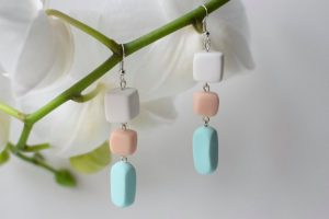 Polymer clay beaded dangle earrings