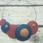 Modern polymer clay necklace, statement necklace, gift for her, geometric necklace, opal green and copper, fimo necklace