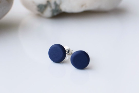 Navy Blue Studs Minimalist Earrings Matte Beaded Round Post