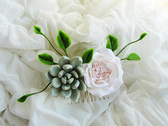 Birthday Bridal Gift Green succulent hair comb Succulent gift Green peach coral wedding hair comb succulent wedding Succulent Jewelry