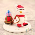Snowman cheering Christmas with Christmas tree clay figure- Xmas decoration clay miniature