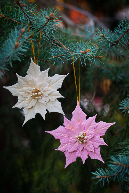 polymer clay christmas decorations with poinsettias