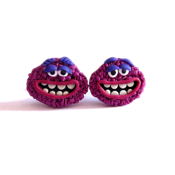 Polymer Clay Earrings, Purple Earrings, Girls Earrings, Funny Earrings, Monsters Inc, Monster Earrings, Purple Monster, Funny Gifts, Art