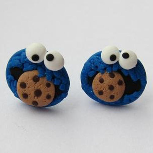 Polymer Clay Earrings, Stud Earrings, Funny Earrings, Cookie Monster Earrings, The Muppet Show, Sesame Street Earrings, Blue Earrings, Fimo