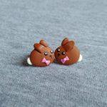 Teddy Bear Earrings, Food Jewelry, Food Earrings, Girls Jewelry, Gifts For Kids, Teddy Bear Cookies Earrings, Toy Earrings, Brown Earrings,