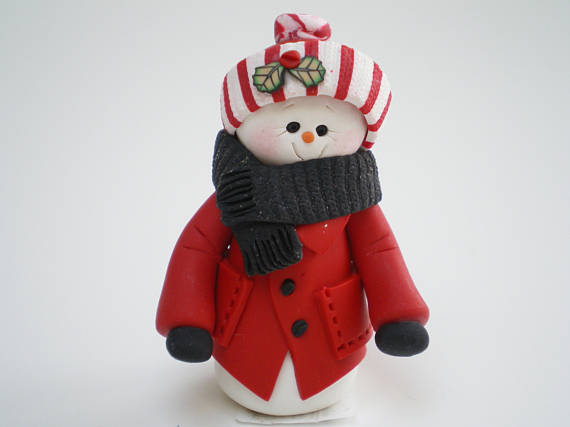 polymer clay snowman in red coat christmas decoration