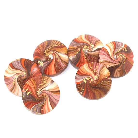 Polymer Clay beads in chocolate brown, bronze, gold and orange, swirl lentil beads with gold tiny dots, set of 6 elegant beads