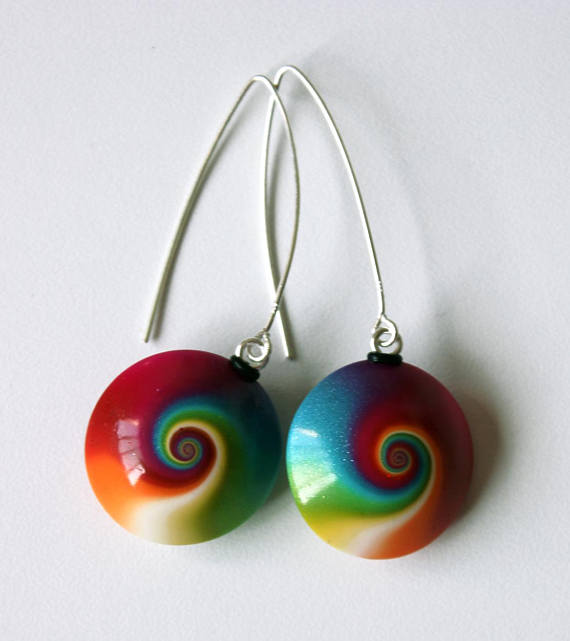 Polymer clay rainbow earrings with lentil beads