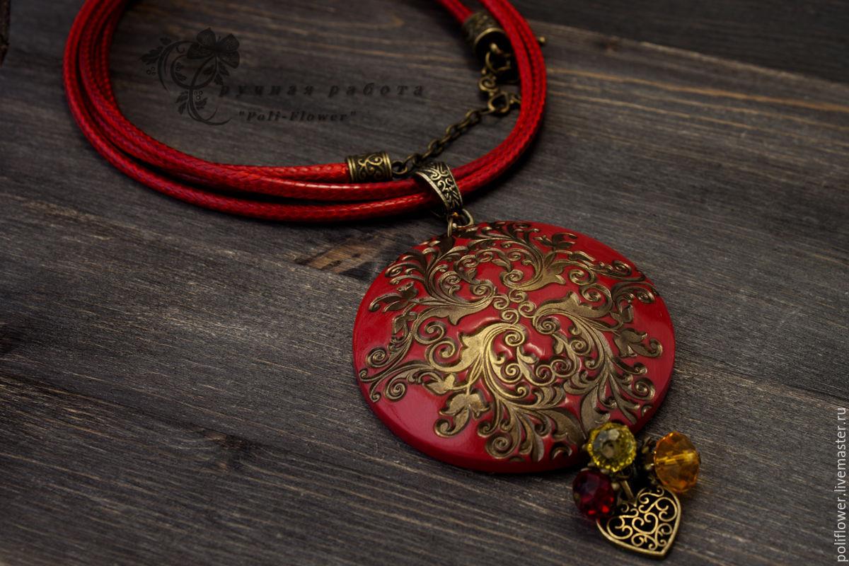 Polymer clay antique pendant - handmade ideas