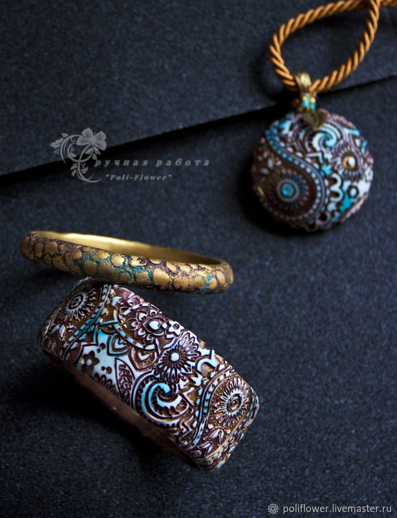 Polymer clay tube necklace and other assorted accessories