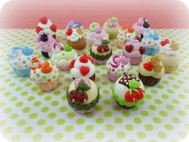 Polymer clay cupcake charms