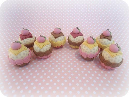 Polymer clay cupcake charms (15)