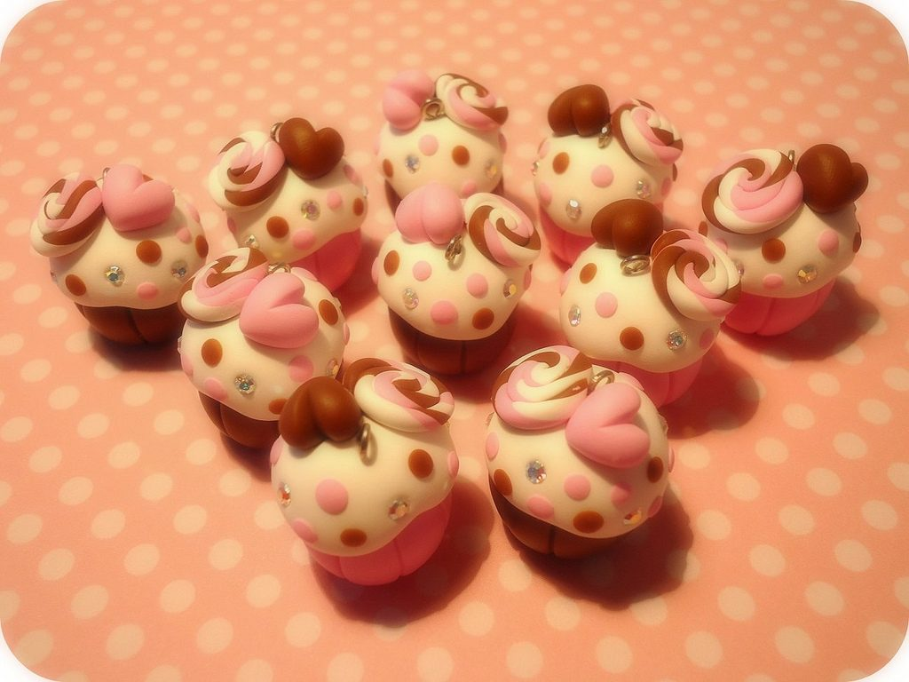 Polymer clay cupcake charms (18)