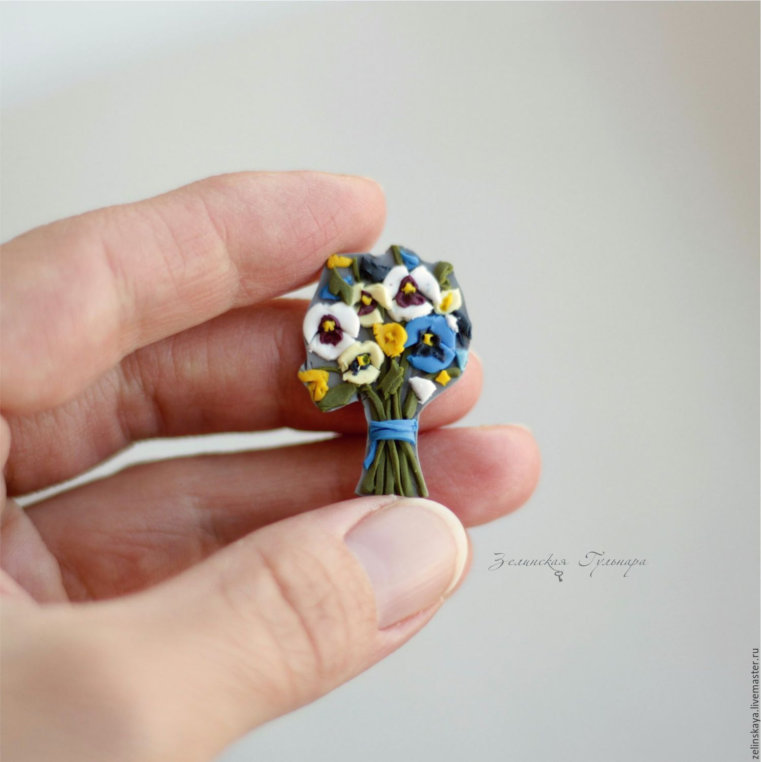 Polymer clay miniature bouquet brooch