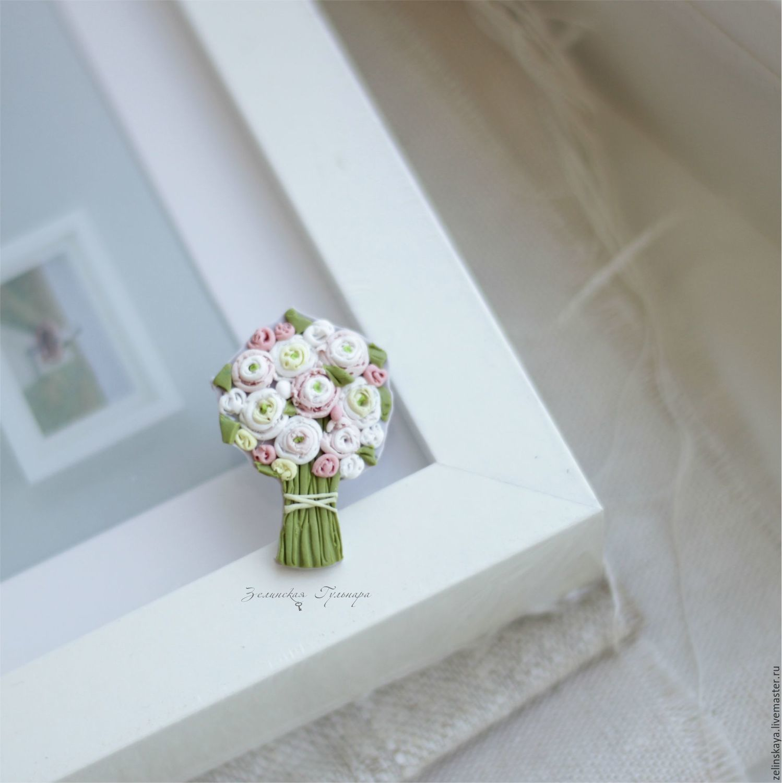 Polymer clay miniature bouquet brooch