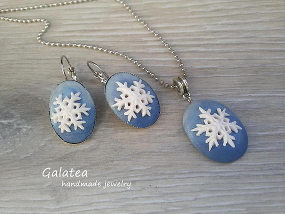 Polymer clay snowflake jewelry for winter