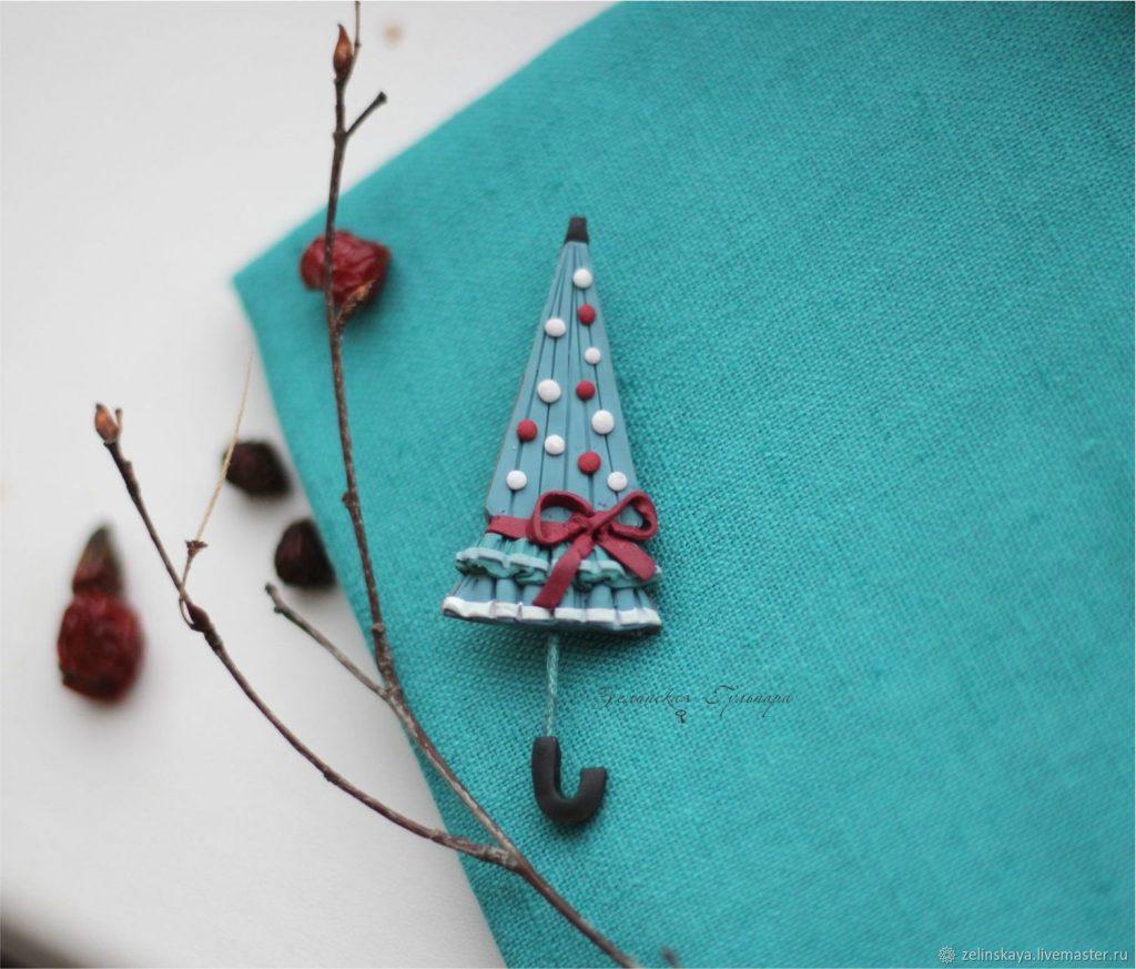 Polymer clay umbrella brooch - Christmas umbrella - handmade brooch
