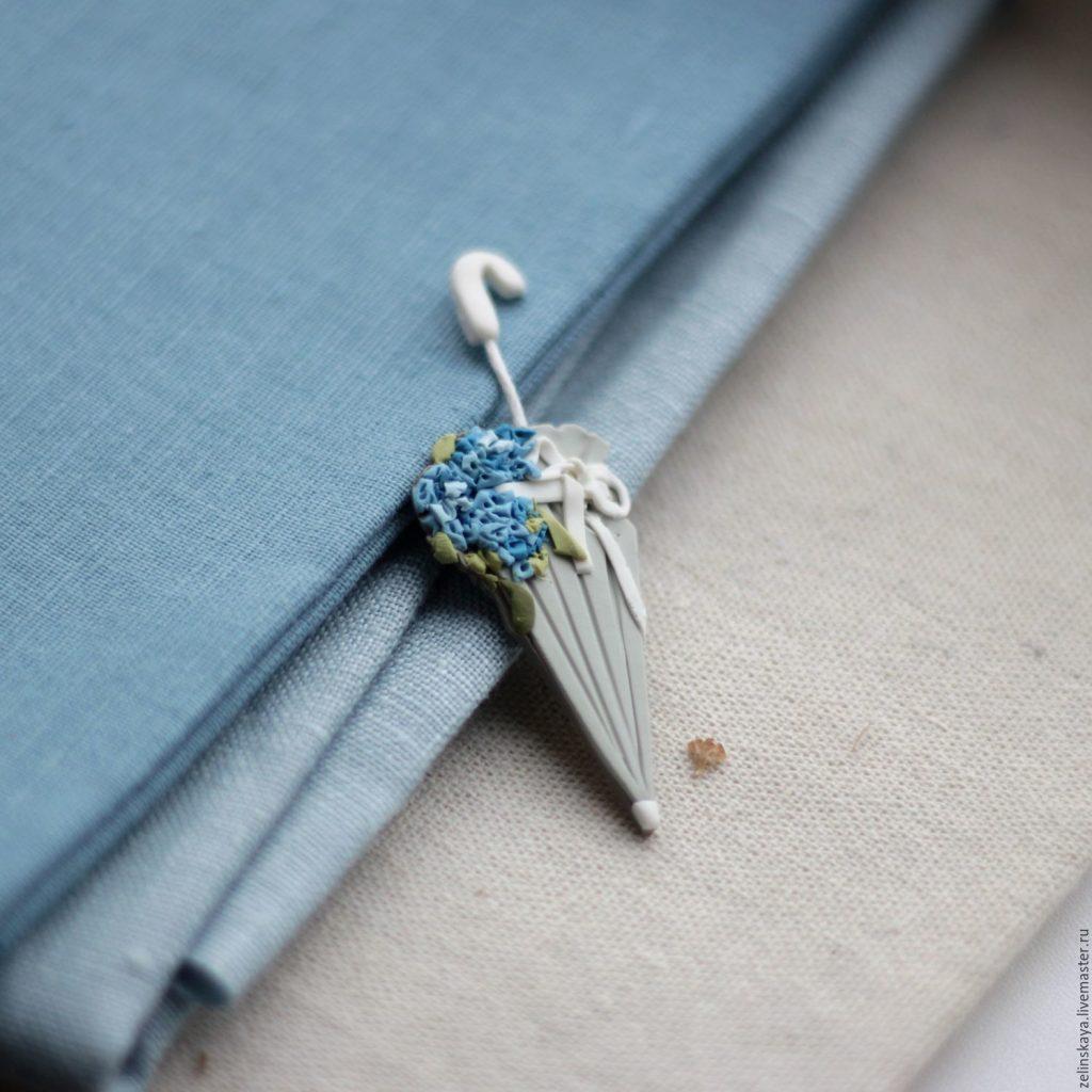 Polymer clay umbrella brooch - grey brooch - handmade brooch 6